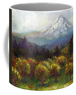 Coffee Mug featuring the painting Beyond The Orchards by Talya Johnson