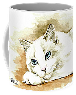 Coffee Mug featuring the painting Bicolor Ragdoll Cat Portrait by Dora Hathazi Mendes