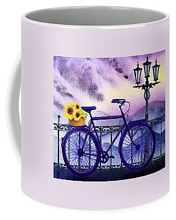 Blue Bicycle And Sunflowers By Irina Sztukowski  Coffee Mug