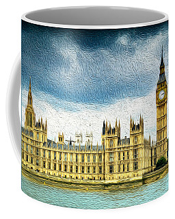 Big Ben And Houses Of Parliament With Thames River Coffee Mug