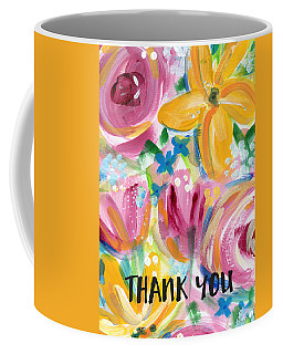 Big Colorful Flowers Thank You Card- Art By Linda Woods Coffee Mug