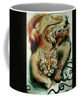 Big Ginger Cat. Sand Art Coffee Mug