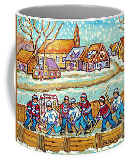 Big Hockey Game Outdoor Ice Rink Snowy Winter Scene Painting Canadian Art C Spandau Quebec Artist    Coffee Mug