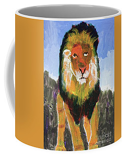 Coffee Mug featuring the painting Big Lion King by Donald J Ryker III