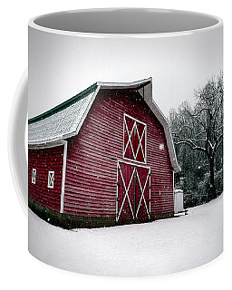 Big Red Barn In Snow Coffee Mug