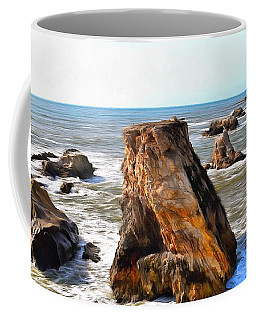 Coffee Mug featuring the photograph Big Rocks In Grey Water Painting by Barbara Snyder