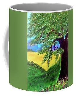 Coffee Mug featuring the painting Big Tree In Meadow by Sonya Nancy Capling-Bacle