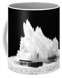 Big Wave Breaking On Breakwater Coffee Mug