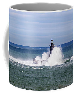 Big Wave Hits Ram Island Ledge Light Coffee Mug