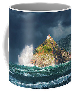 Big Waves Over San Juan De Gaztelugatxe Coffee Mug