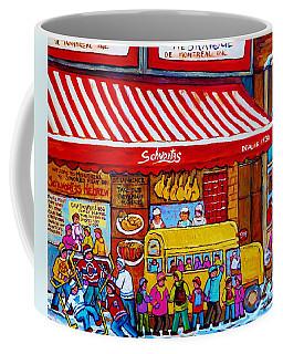 Big Yellow Schoolbus At Schwartz Deli Original Winter Scene Hockey Art Painting For Sale C Spandau   Coffee Mug
