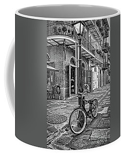 Bike And Lamppost In Pirate's Alley- Bw Coffee Mug by Kathleen K Parker