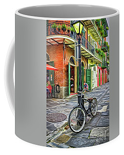 Bike And Lamppost In Pirates Alley-painted Coffee Mug by Kathleen K Parker