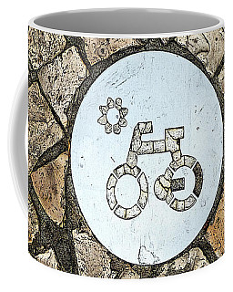Bike Path Sign On A Cobblestone Pavement Coffee Mug
