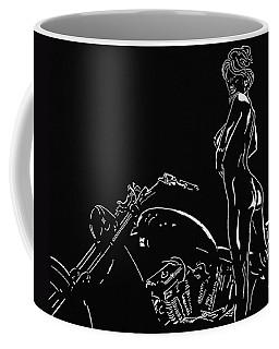 Coffee Mug featuring the drawing Biker Biach by Mayhem Mediums
