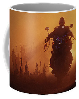 Biker Man Riding Motorcycle On The Sunset Coffee Mug