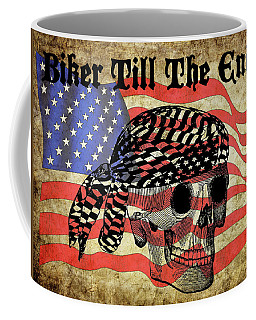 Biker Skull American Flag Old Paper Art Coffee Mug