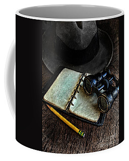 Binoculars Fedora And Notebook Coffee Mug by Jill Battaglia