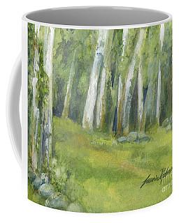 Birch Trees And Spring Field Coffee Mug