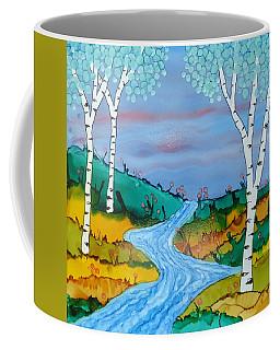 Birch Trees And Stream Coffee Mug