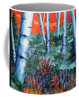 Birch Trees At Sunset Coffee Mug