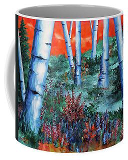 Birch Trees At Sunset Coffee Mug