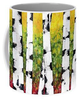 Coffee Mug featuring the mixed media Birch Forest Trees by Christina Rollo