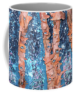 Birch Trees With Eyes Coffee Mug by Genevieve Esson