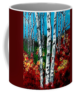Coffee Mug featuring the painting Birch Woods 2 by Sonya Nancy Capling-Bacle