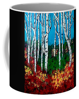 Coffee Mug featuring the painting Birch Woods by Sonya Nancy Capling-Bacle