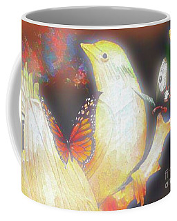Bird And Butterflies Coffee Mug