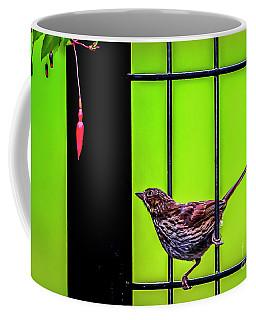 Bird And Red Fuchsia Flower Coffee Mug