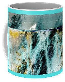 Coffee Mug featuring the photograph Bird At The Abstract Fountain by D Davila