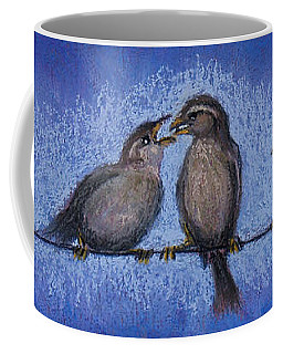 Bird Babies On A Wire Coffee Mug