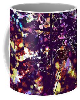 Coffee Mug featuring the digital art Bird Chickadee Black  by PixBreak Art