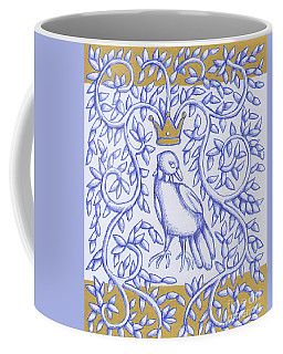 Coffee Mug featuring the drawing Bird Crown Gold by Donna Huntriss