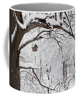 Bird House In Snow Coffee Mug