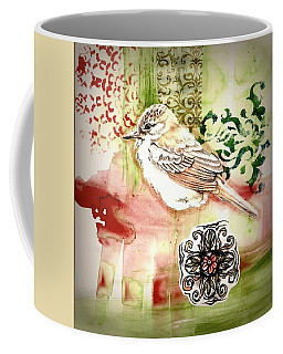 Coffee Mug featuring the mixed media Bird Love by Rose Legge