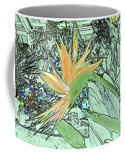 Coffee Mug featuring the photograph Bird Of Paradise In The Hothouse by Nareeta Martin