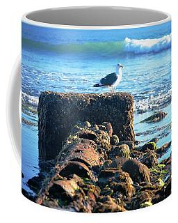 Bird On Perch At Beach Coffee Mug