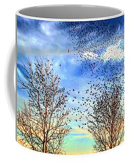 Bird Swarms Versus Hawks On The Prairie Coffee Mug