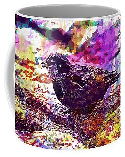 Coffee Mug featuring the digital art Bird The Sparrow Nature Pen  by PixBreak Art