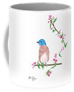 Minimal Bird And Cherry Flowers Coffee Mug