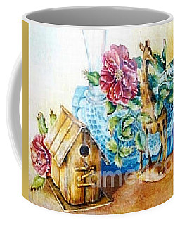 Coffee Mug featuring the painting Birdhouse Still Life by Linda Shackelford