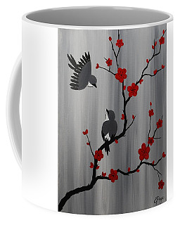 Birds And Blooms In Red Coffee Mug