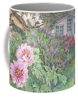 Birds And Bunnies In Cottage Garden Coffee Mug by Judith Cheng