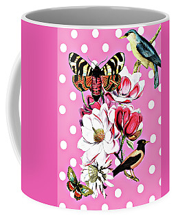 Birds, Flowers Butterflies And Polka Dots Coffee Mug