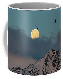 Birds Flying Into A Morning Moonset Coffee Mug