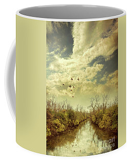 Coffee Mug featuring the photograph Birds Flying Over A River by Jill Battaglia