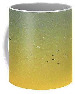 Birds In Flight Over Sunset Sky Coffee Mug